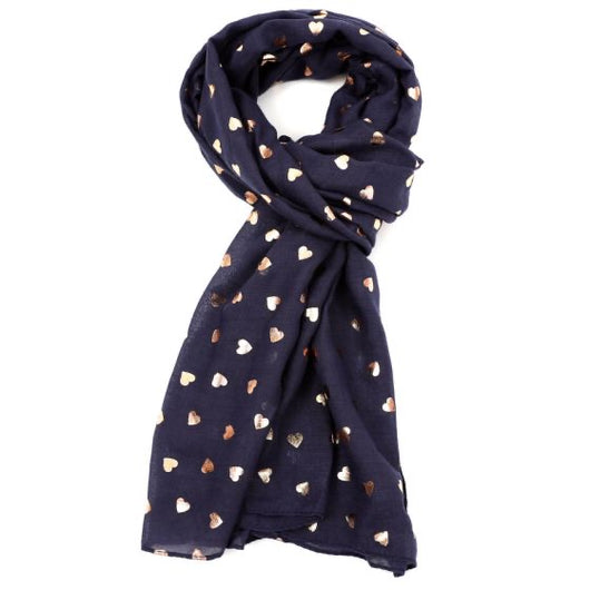 Navy Rose Gold Hearts Scarf