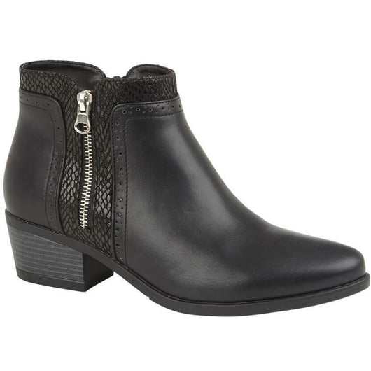 Black Boot With Silver Zip Detail