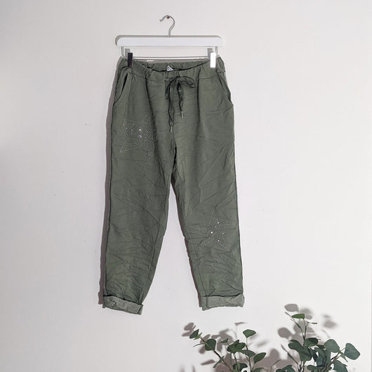 Khaki Magic Trousers With Star Detail