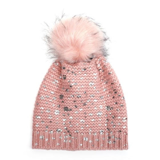 Pink And Silver fur Pom Pom hat