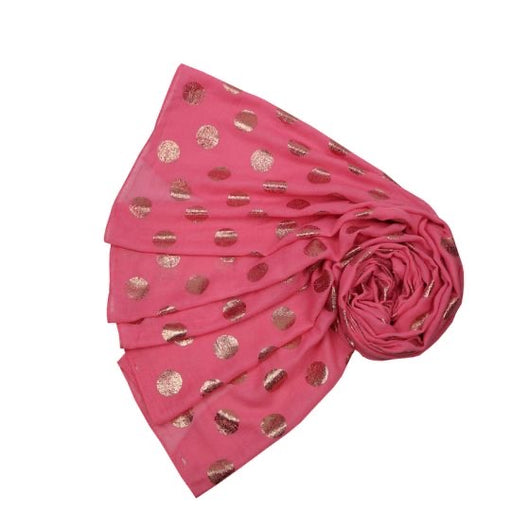 Red Scarf With Rose Gold Dots