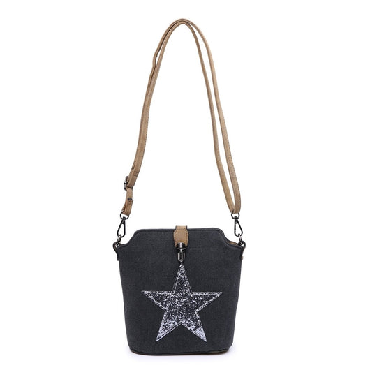 Black Cross Body Hand Bag With Sequin Star