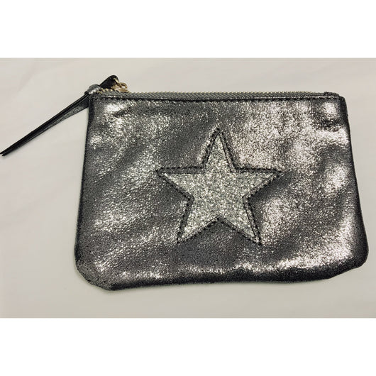 Large Pewter Metallic Purse With Silver Star