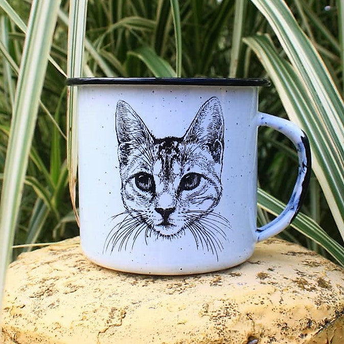 Cat Enamel Coffee/Tea Mug