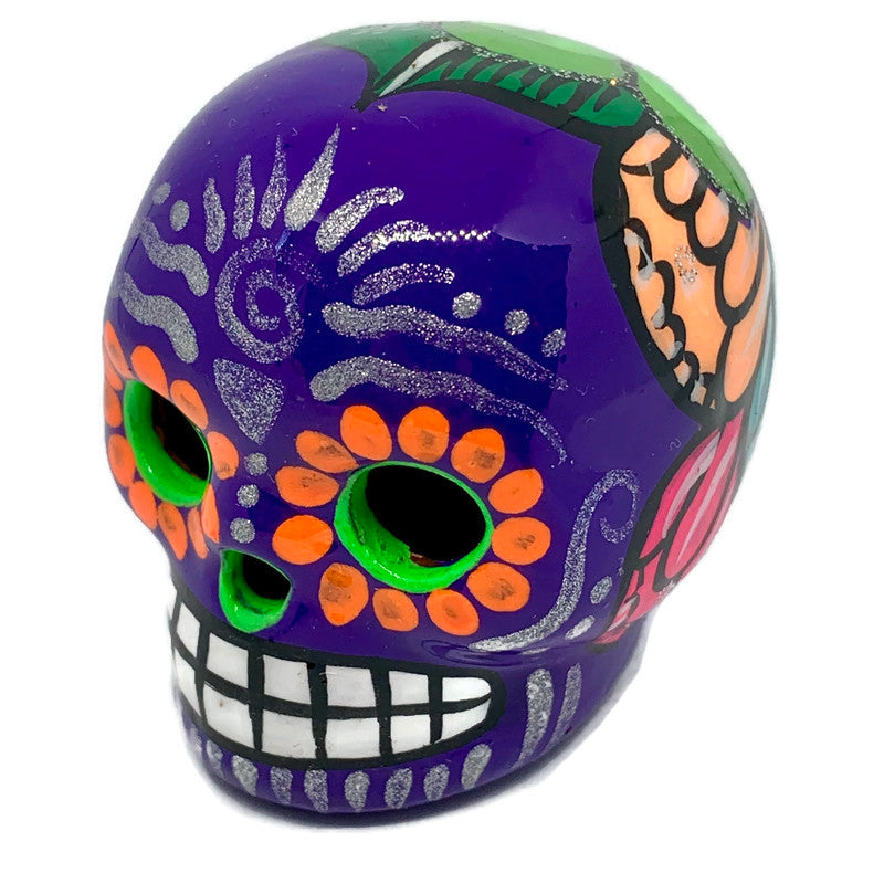 Small Hand-Painted Ceramic Calavera | Purple (in stock)