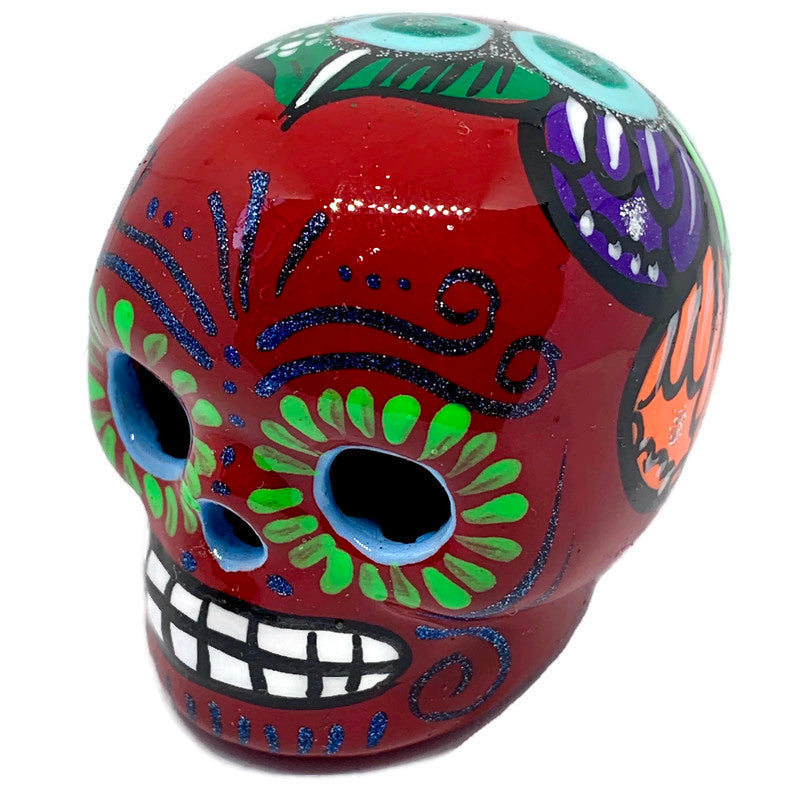 Small Hand-Painted Ceramic Calavera | Red (in stock)