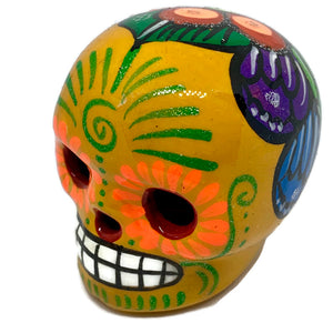 Small Hand-Painted Ceramic Calavera | Yellow (in stock)