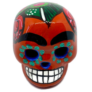 Small Hand-Painted Ceramic Calavera | Orange (in stock)