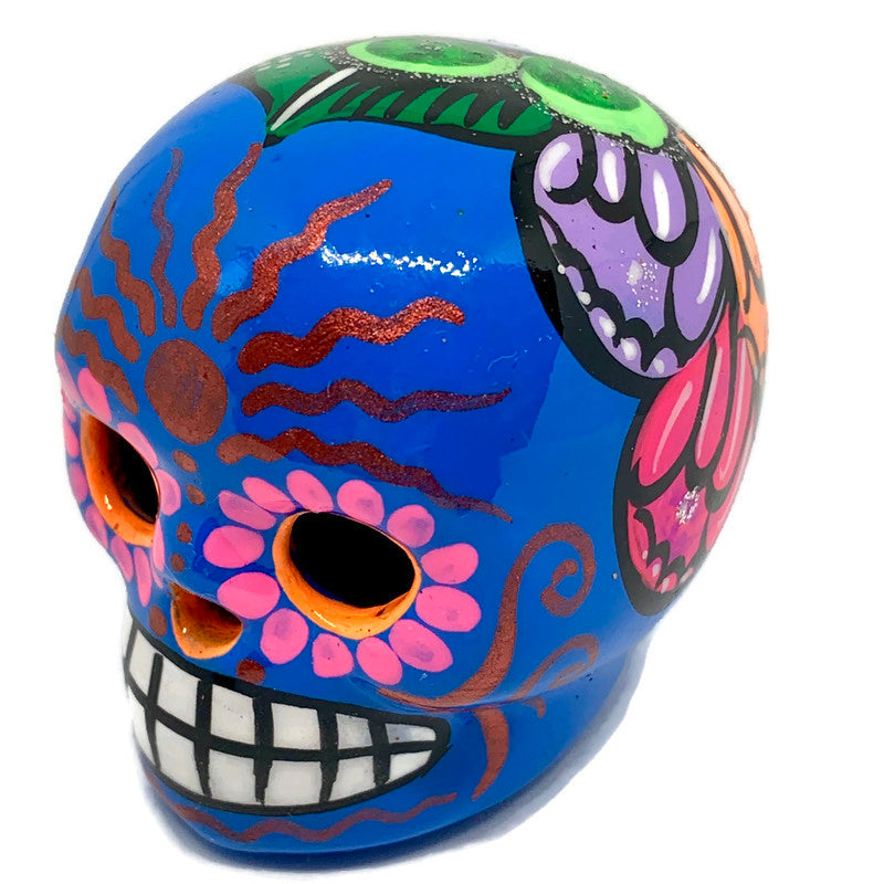 Small Hand-Painted Ceramic Calavera | Blue (in stock)