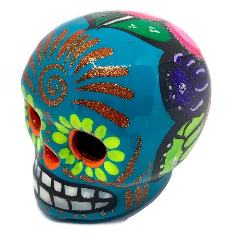 Small Hand-Painted Ceramic Calavera | Teal (in stock)