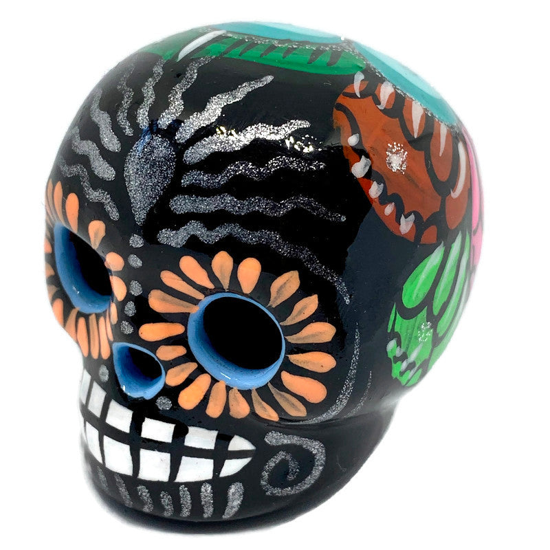 Small Hand-Painted Ceramic Calavera | Black (in stock)