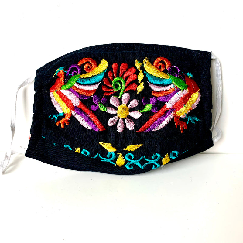 PRE-ORDER ONLY Mexican Embroidered Pleated Cotton Mask with Ear Loops. BLACK/BIRDS (ships in 2-4 weeks)