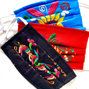 PRE-ORDER ONLY Three Different Mexican Embroidered Pleated Cotton Masks with Ear Loops. Assortment (ships in 3-5 weeks)