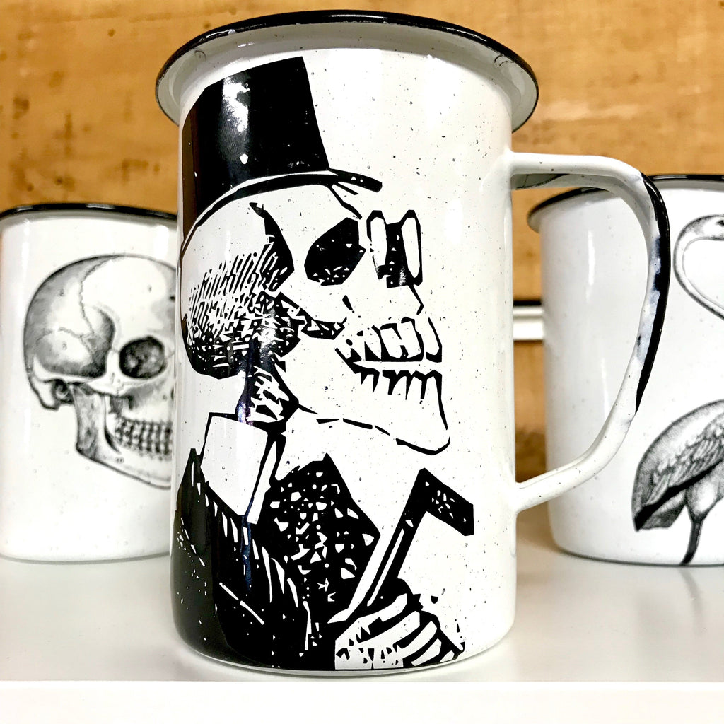 Large Catrin Dapper Skull Enamel Mug (in stock)