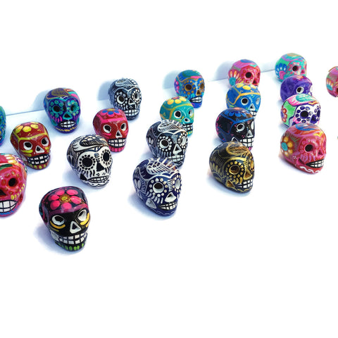Assortment of Miniature Ceramic Sugar skulls, Eight Count