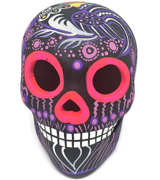 "3.75"" Medium Purple Bird Ceramic Calavera, Matte"