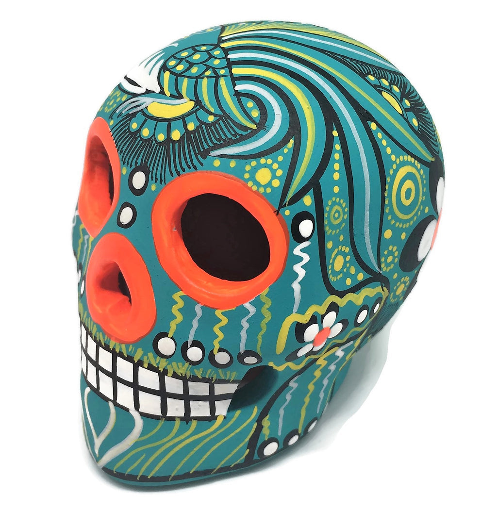 "3.75"" Medium Mint Bird Ceramic Calavera, Matte (in stock)"
