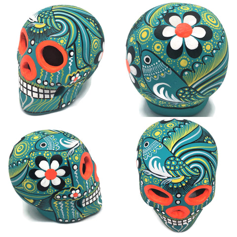 Medium Mint Bird Ceramic Calavera, Matte
