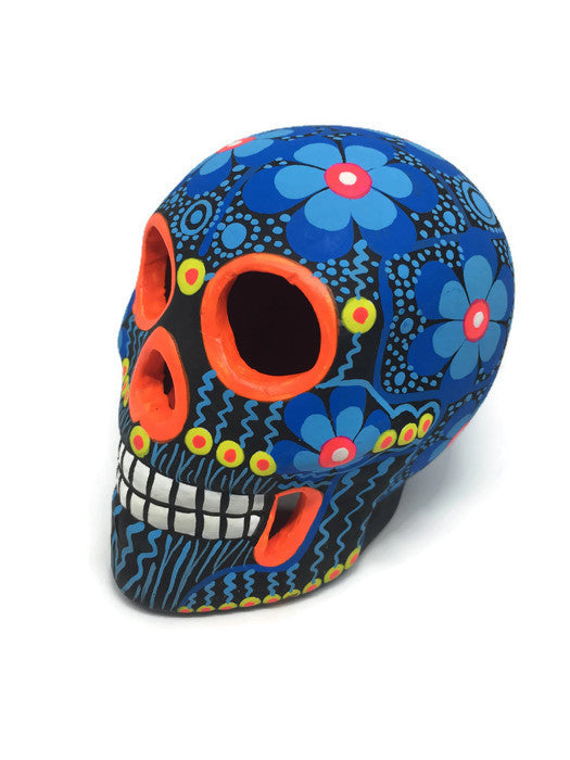 Medium, Blue, Flower Ceramic Sugar Skull, Matte