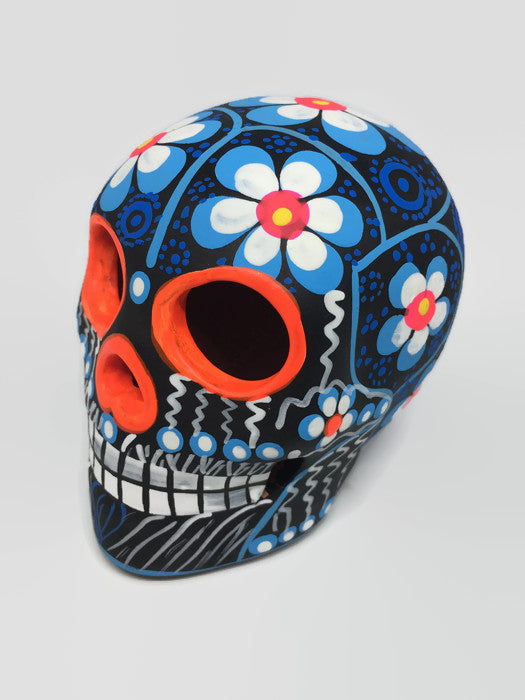 "3.75"" Medium Blue, White and Orange Flower Ceramic Sugar Skull Matte (ships in 2-8 weeks)"