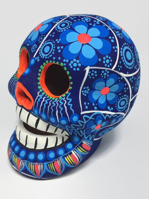 Large Blue Flower Ceramic Calavera Matte (ships in 4-8 weeks)