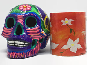 Large, Hand-painted Purple, Ceramic Calavera, Glossy (ships in 2-8 weeks)