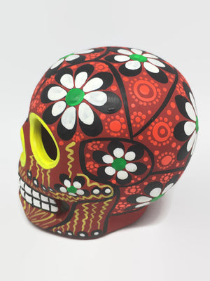 "3.75"" Medium Red Flower Ceramic Sugar Skull Matte (in stock)"