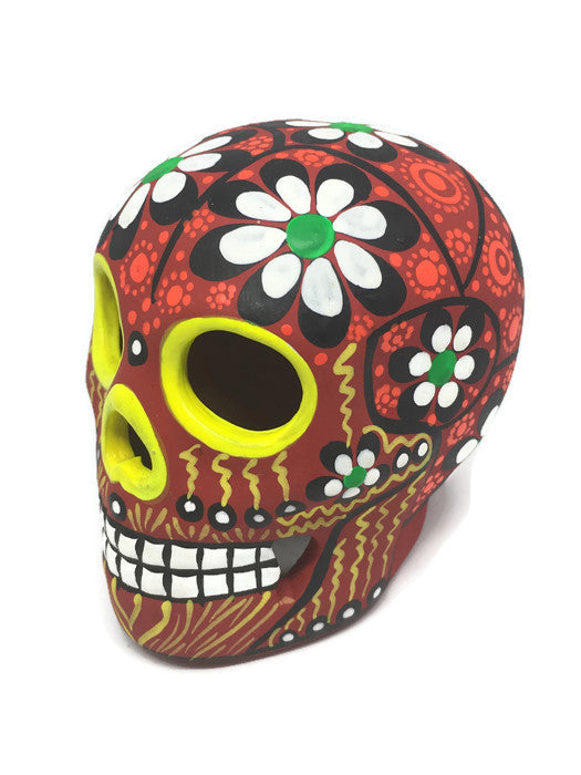 "3.75"" Medium Red Flower Ceramic Sugar Skull Matte (ships in 2-8 weeks)"