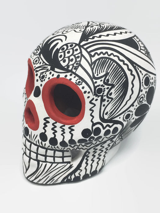 "3.75"" Medium White Black and Red Bird Ceramic Sugar Skull Matte (ships in 2-8 weeks)"
