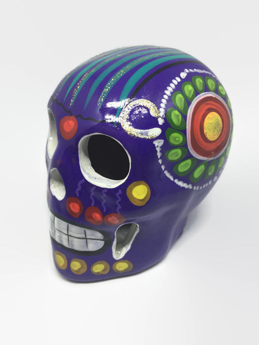Medium Hand-Painted Purple Ceramic Sugar Skull Glossy (ships in 2-8 weeks)