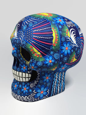 Extra Large Hand-Painted Blue Bird Ceramic Sugar Skull Matte (ships in 2-8 weeks)