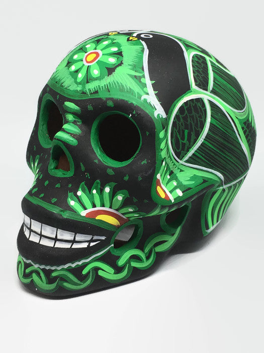Large Black and Green Ceramic Sugar Skull Matte (ships in 4-8 weeks)