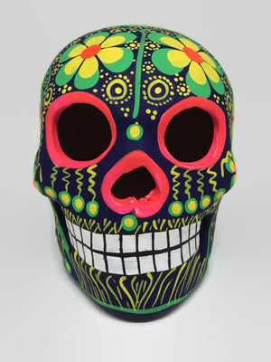 Medium Green and Yellow Flower Ceramic Sugar Skull Matte (in stock)
