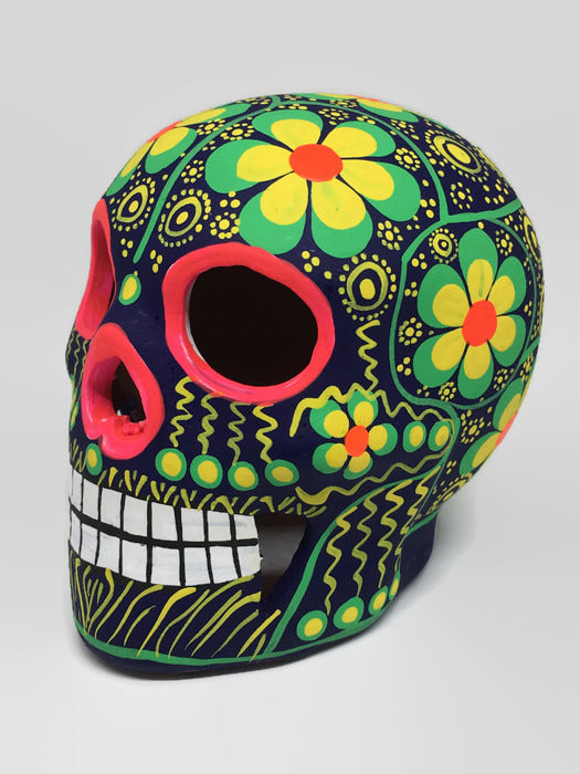 Medium Green and Yellow Flower Ceramic Sugar Skull Matte