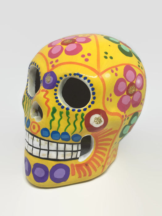 Medium Yellow Flower Ceramic Sugar Skull Glossy