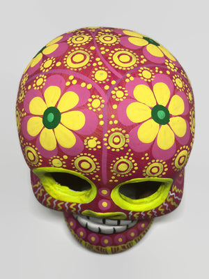 Large Hand-Painted Pink and Yellow Flower Ceramic Calavera, Matte (ships in 4-8 weeks)