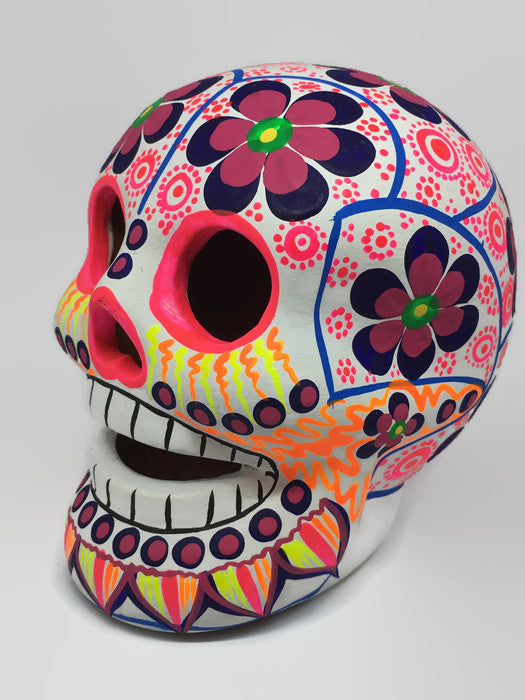 Large Multi-coloured Flower Ceramic Calavera, Matte (ships in 4-8 weeks)