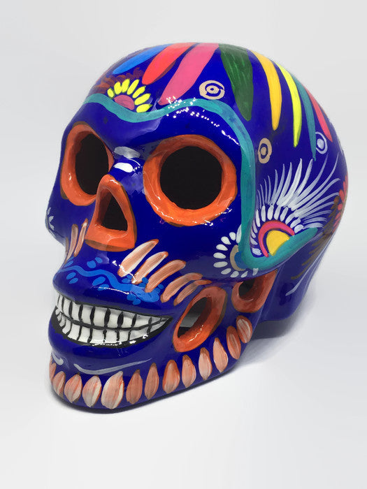 Large Blue Ceramic Calavera Glossy (ships in 2-8 weeks)