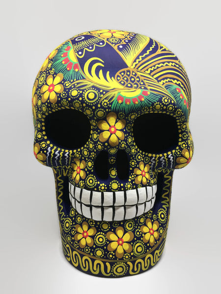 Extra Large Hand-Painted Yellow Bird Ceramic Calavera Matte