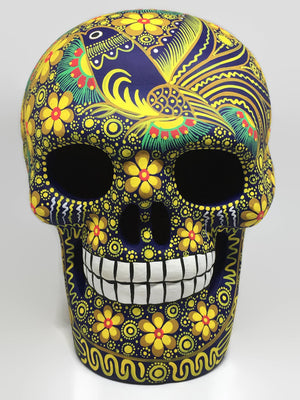 Extra Large Hand-Painted Yellow Bird Ceramic Calavera Matte (ships in 2-8 weeks)