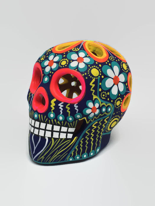 Medium Multi-coloured Flower Ceramic Calavera Matte