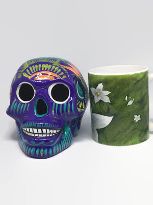 Large Purple Ceramic Calavera, Glossy (ships in 2-8 weeks)