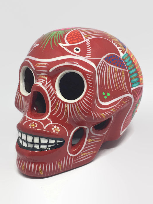 Large Red Ceramic Calavera, Glossy (ships in 4-8 weeks)