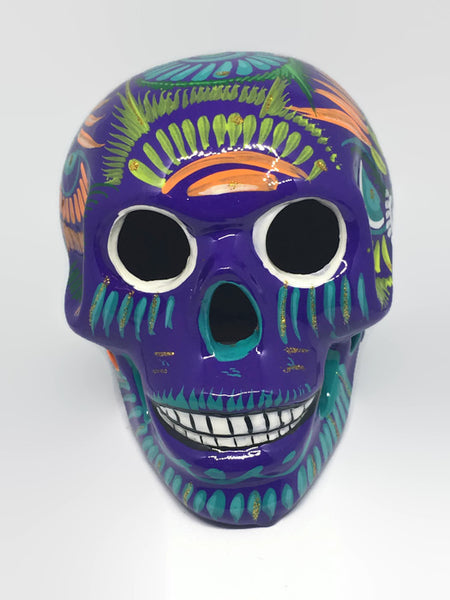 Large Purple Ceramic Calavera, Glossy