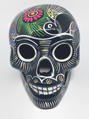 Large Hand-painted Black Ceramic Calavera, Glossy (ships in 4-8 weeks)