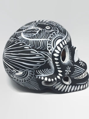 Large Black and White Ceramic Calavera, Matte (ships in 4-8 weeks)