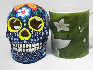 Large Blue, White and Green Flower Ceramic Calavera Matte (ships in 2-8 weeks)