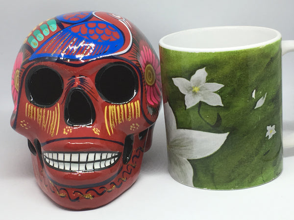 Large Red Ceramic Calavera Glossy