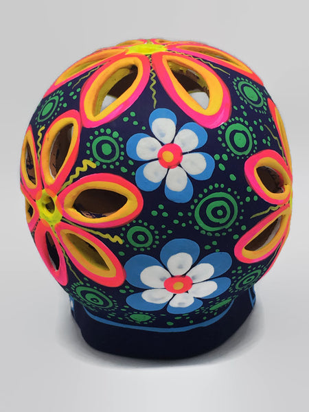 Large Blue, White and Green Flower Ceramic Calavera Matte