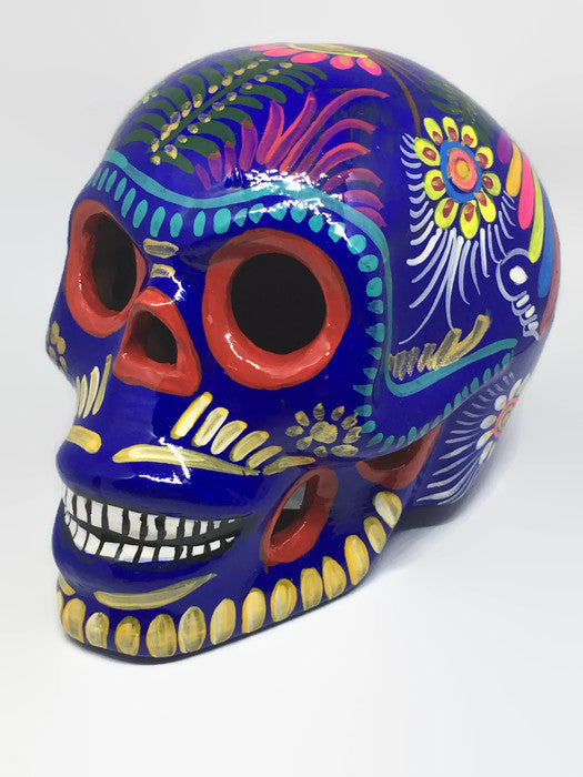 Large Multi-coloured Ceramic Calavera, Glossy (ships in 2-8 weeks)
